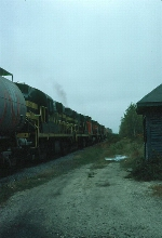 Grand Trunk Railway Mixed Freight Train, with Canadian National Railway MLW M420's and Central Vermont Railway Alco RS11's in the Power Consist,