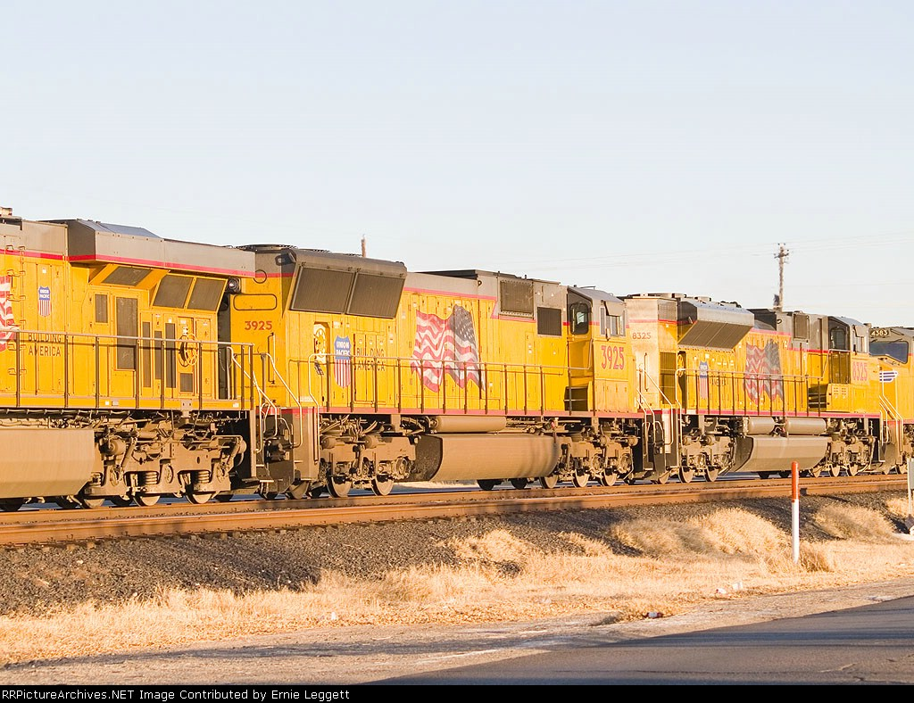UP 3925 #2 in WB intermodal at 4:20pm