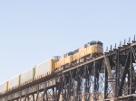 UP 4371 and UP 4640 lead an Autorack over the Rio Grande bridge