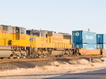 UP 4383 #4 in WB intermodal at 4:20pm