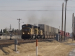 UP 4098 leads his WB intermodal past the Pendale St crossing