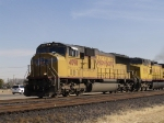 UP 4098 as lead in WB intermodal at 1:48pm