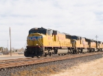 UP 4549 leads a WB intermodal at 1:28pm