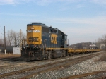 CSX 2568 leading D708 returns to the yard after a short workday