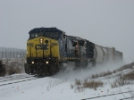 CSX 7834 leading Q326 through the snow
