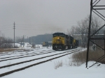 CSX 142 leading N905 as 8532 backs into the shop