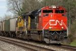 CN 8011 & BNSF 8712 heading west