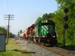 GCFX 3066 & BNSF 8614 leading Q326-22 past the east end of the siding
