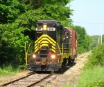 908 rolling down the rickity track of the West Michigan Railroad
