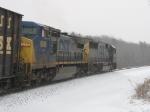 CSX 9016 & 8521 through the snow