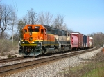 BNSF 8017 & 9599 leading C767 around the curve inside the MSU campus