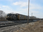 NS 7550 leading 22J with empty autoracks for South Yard