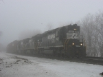 NS 1620 leading through a small patch of fog and freezing rain