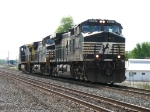 The power from 55Q, NS 9297, 9748 & CSX 7777, head east after dropping off a grain train west of town