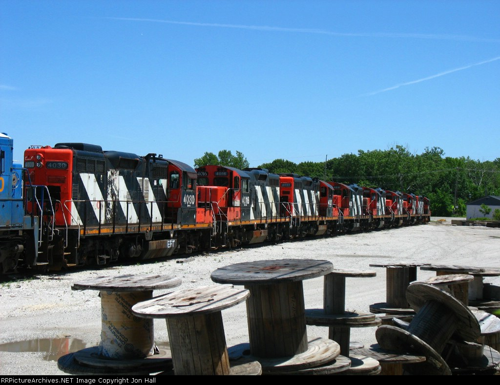 Eight former CN GP9RM's lined up in the deadline