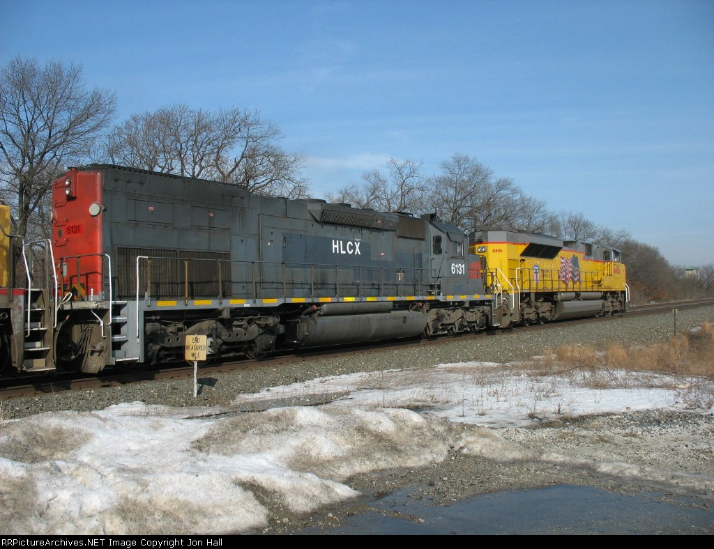 HLCX 6131 trailing UP 8406