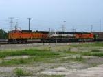 BNSF 5641 & 6180 bracketing BN 9565 as they wait to go east with U994