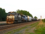 NS 9035 & CEFX 3153 pulling up with 324 to make a setout in the yard