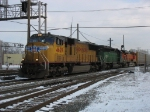 UP 4629, CEFX 7109 & BNSF 5729 heading west on the IHB