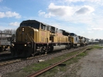 UP 8182 leading an empty unit ethanol train west with CSX 7863 & 7551