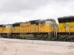 UP 4357 #2 power in EB intermodal at 1:28pm