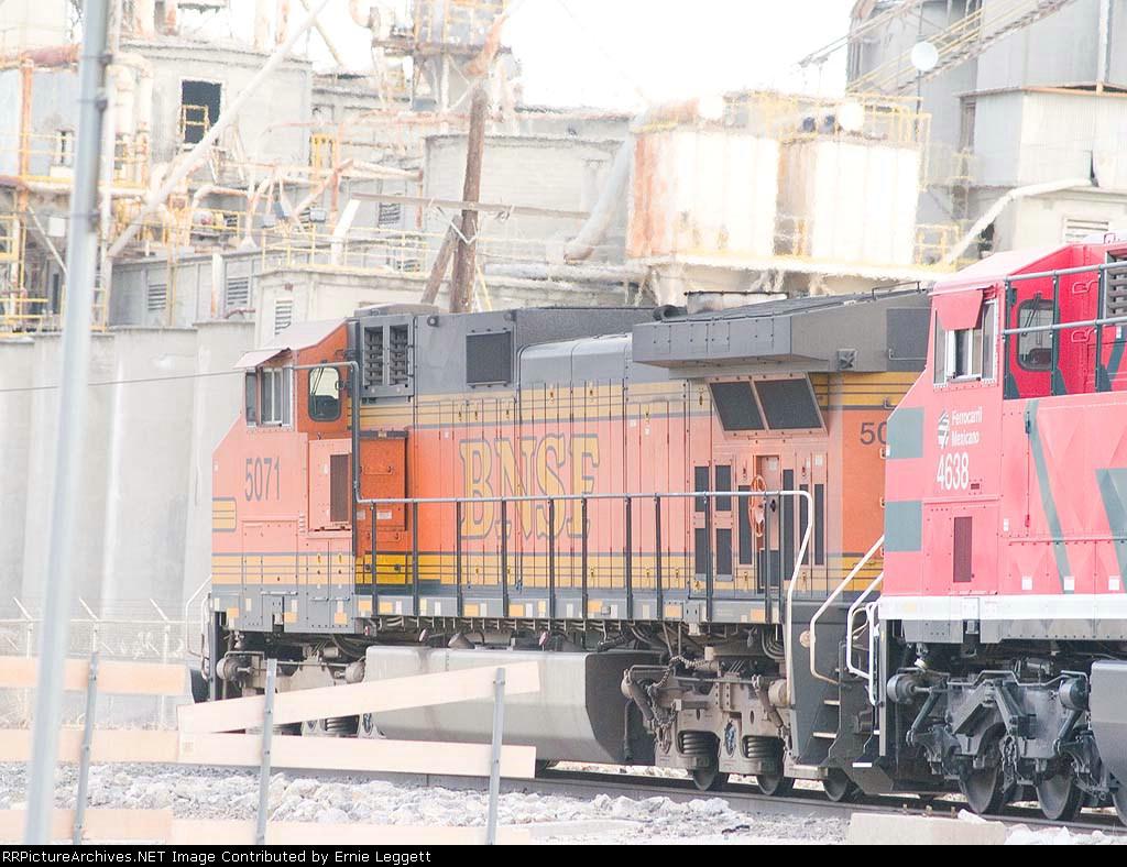 BNSF 5071 #2 DPU in a WB grain train at 7:56am