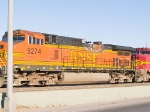 BNSF 5274 lead in an EB manifest (tied down) at 4:18pm