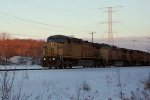 UP 6747 into the sunset with three sisters and coal loads