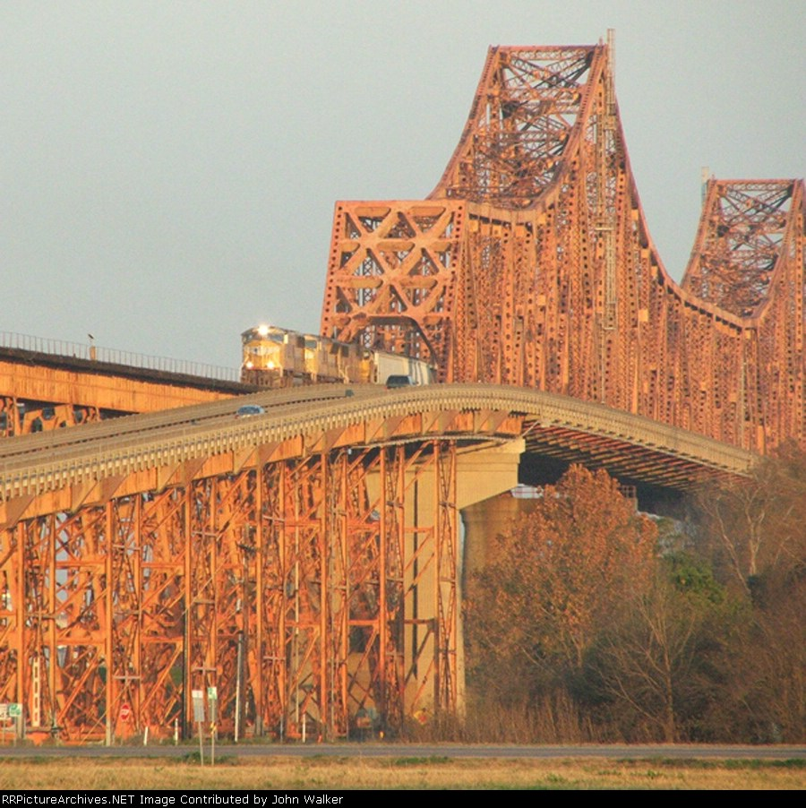 Westbound UP grain train on Mississippi River bridge
