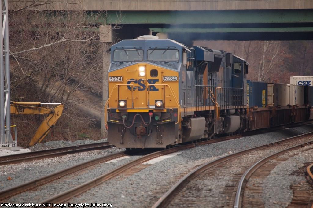Q171-13 heads west on track 1 with CSXT 5234 (ES44DC) & CSXT 4717 (SD70MAC)