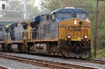 Q409-21 with CSXT 5482(ES44DC), CSXT 7504(C40-8) ex UP 9146(C40-8) & CSXT 7631(C40-8)  heads west on track 2 with less than 10 minutes left in the work day. The train was parked fouling track 2 for several hours while waiting on a new crew.