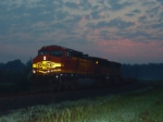 BNSF 4694 with a colorful sunrise