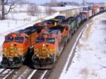 BNSF 5497W overtakes BNSF 4351W
