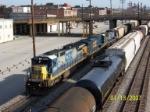 CSX grain train heads south