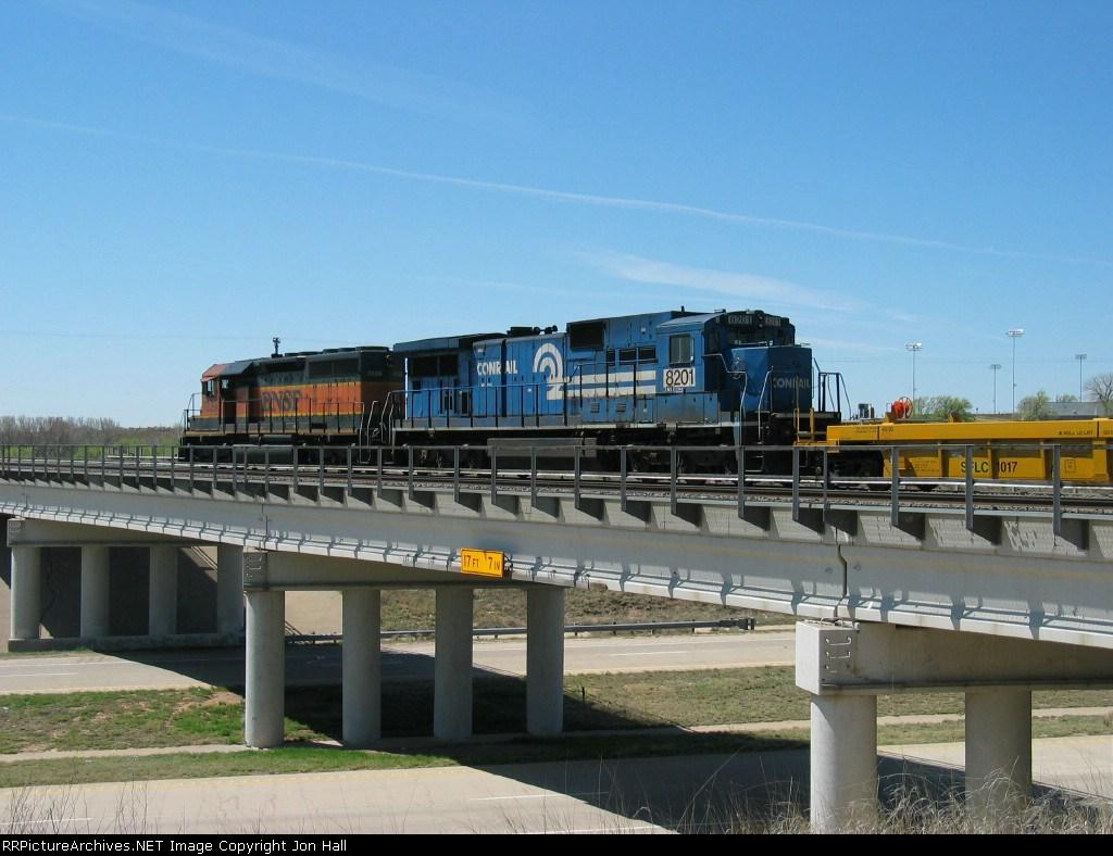 NS 8201 following BNSF 7339