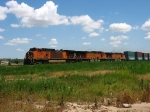 BNSF 4451, 5058 & 5125 leading double stacks westward