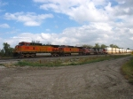 BNSF 5392 leading more containers