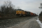 UP 7152 leads some ISO containers westbound