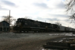 Grain train is now on the move and heads for the Conrail