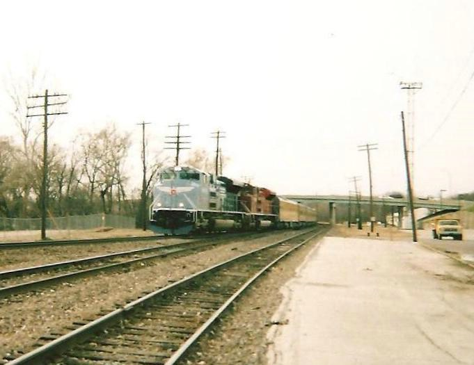 UP Heritage Units and a Business Train