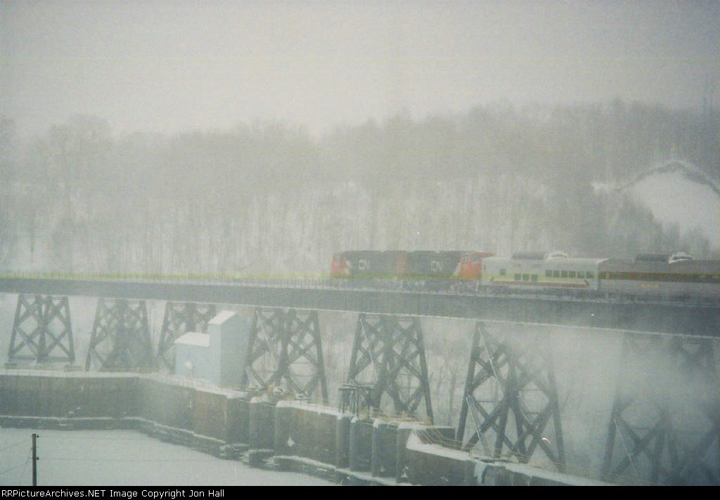 CN 5616 & 5670 out on the trestle