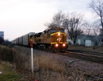 CNW 8632 leads eastbound at twilight