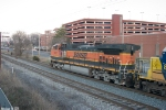 BNSF 1097 leads Q578 out of the siding