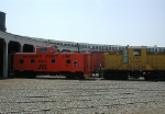 SCL caboose and Navy locomotive on display