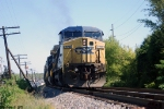 CSX 7710 Q525 starts pulling southbound in th siding at Morgantown