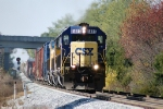 CSX 8485 starts up the hill at Gossum