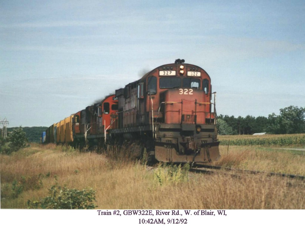 GB&W 322 in the Trempealeau River bottoms