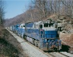 DE 008 001 leads 2 Conrail units n/b with a loaded coal train on the Mononghela Rwy,
