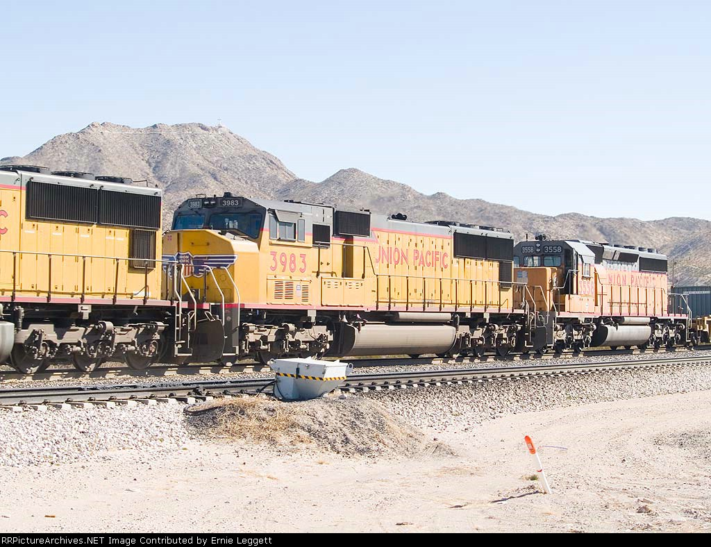 UP 3983 #2 power in WB intermodal at 10:56am