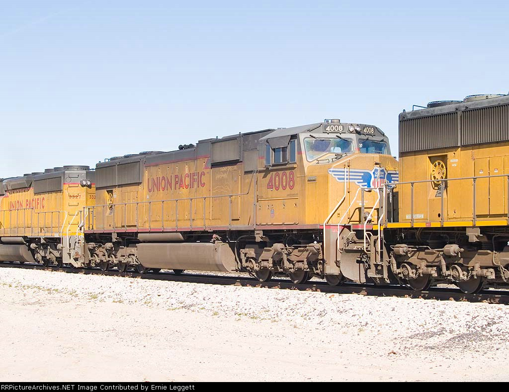 UP 4008 #2 power in EB intermodal at 10:24am